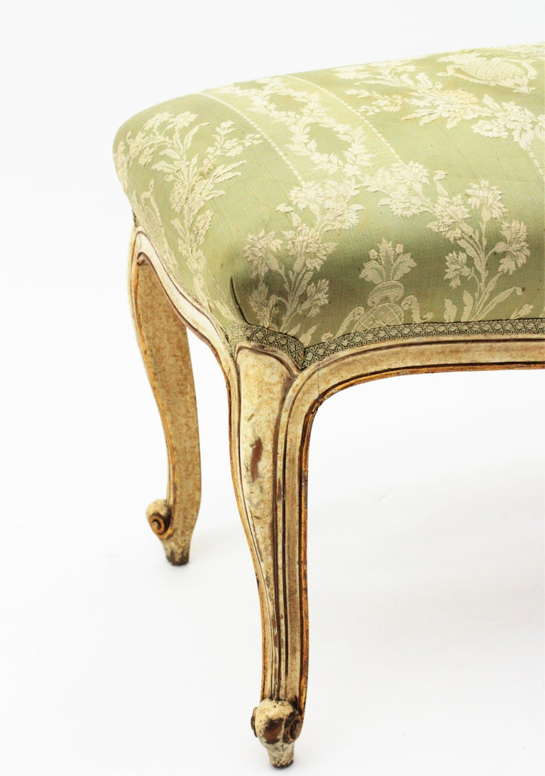 French Louis XV Style Parcel-Gilt Carved Wood Ivory Painted Bench / Stool 4