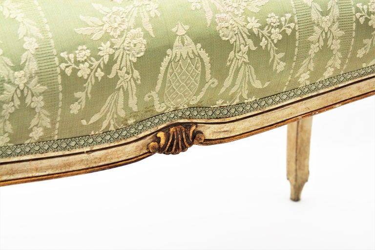 French Louis XV Style Parcel-Gilt Carved Wood Ivory Painted Bench / Stool 5