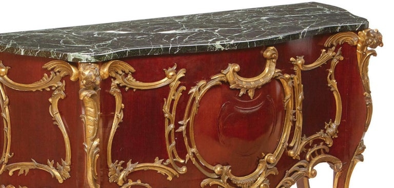 Carved French Louis XV Style Parcel-Gilt Commode-Form Console For Sale
