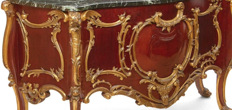 19th Century French Louis XV Style Parcel-Gilt Commode-Form Console For Sale