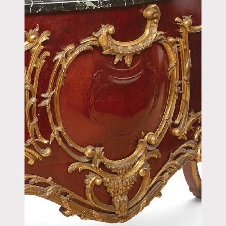 Marble French Louis XV Style Parcel-Gilt Commode-Form Console For Sale