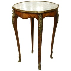 French Louis XV Style Parquetry Gueridon Stand with Marble Top