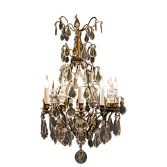 French Louis XV Style, Patinated-Bronze and Crystal Chandelier, circa 1880-1890