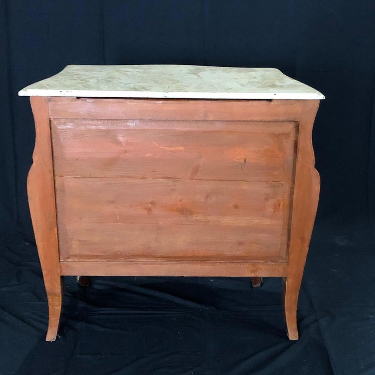 French Louis XV Style Petite Marble Topped Chest or Commode For Sale 6