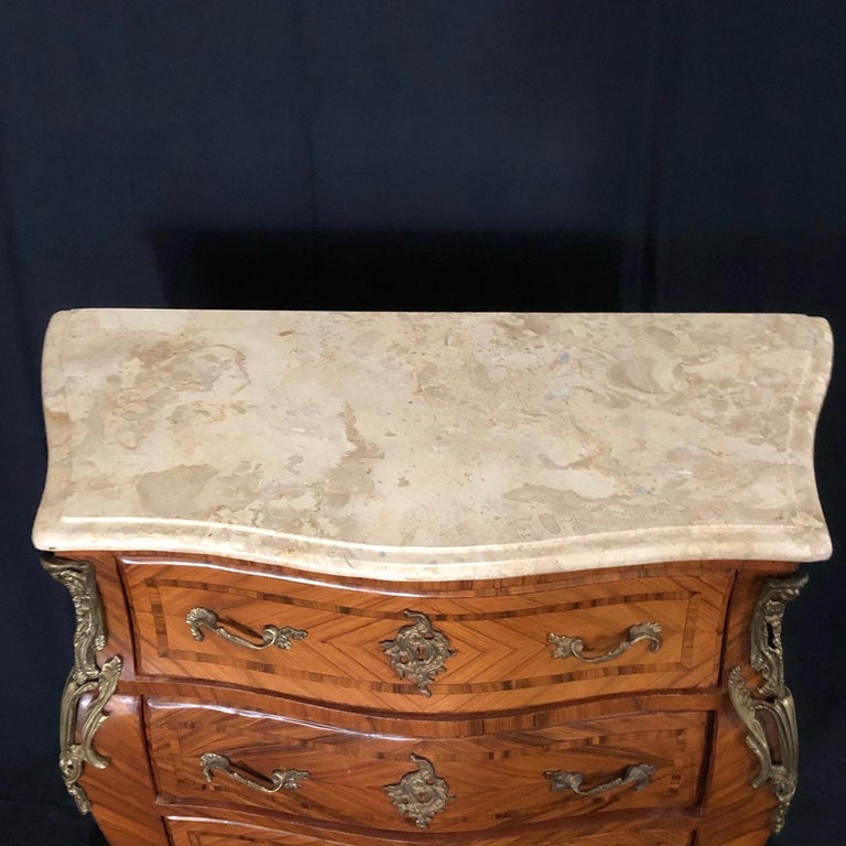 Mid-20th Century French Louis XV Style Petite Marble Topped Chest or Commode For Sale