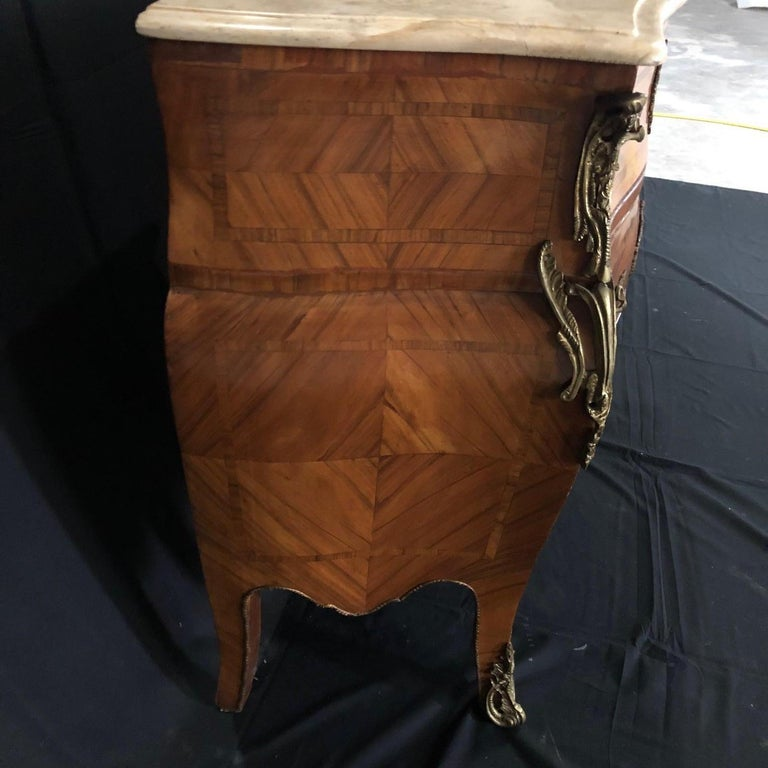 French Louis XV Style Petite Marble Topped Chest or Commode For Sale 3