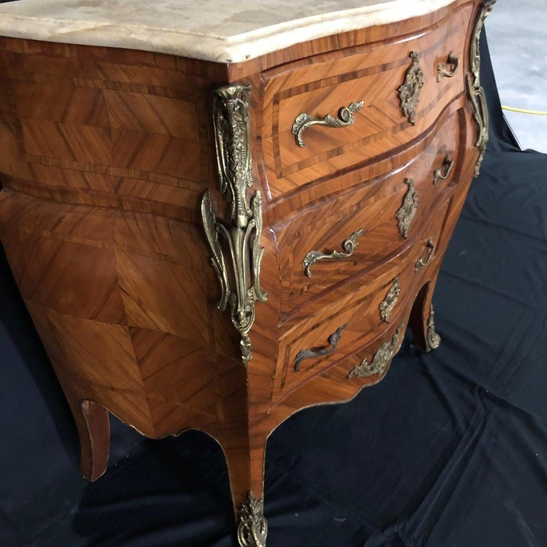 French Louis XV Style Petite Marble Topped Chest or Commode For Sale 4