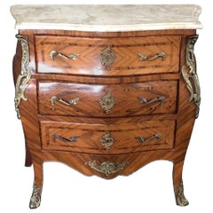 French Louis XV Style Petite Marble Topped Chest or Commode
