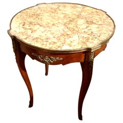 French Louis XV-Style Round Mahogany Marble-Top Table, 19th Century