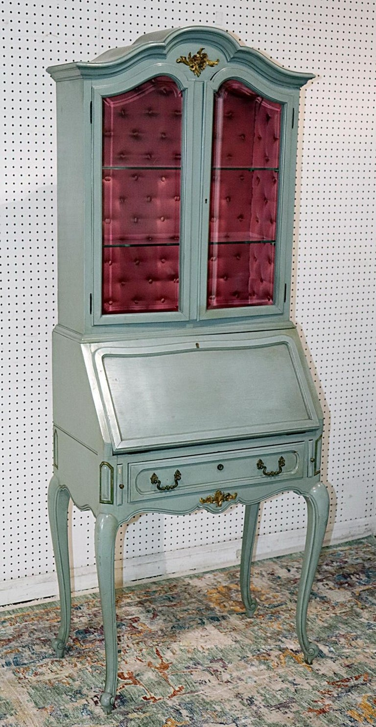 Painted French Louis XV Style China Cabinet Secretary Desk Tufted Interior