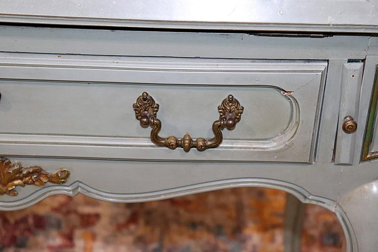 Wood French Louis XV Style China Cabinet Secretary Desk Tufted Interior