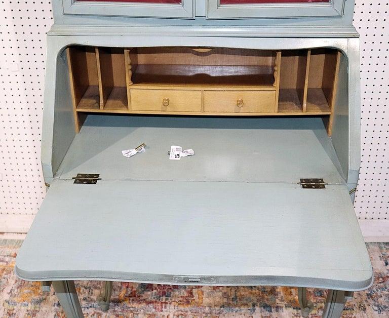 French Louis XV Style China Cabinet Secretary Desk Tufted Interior  1