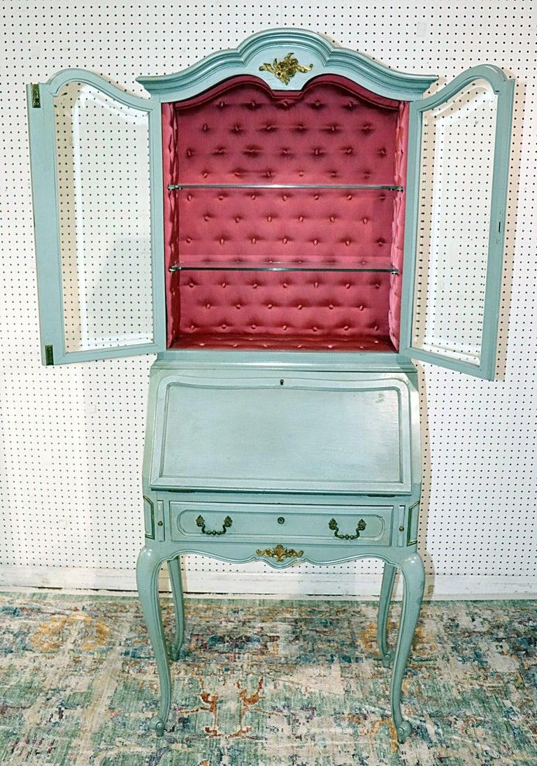 French Louis XV Style China Cabinet Secretary Desk Tufted Interior  3
