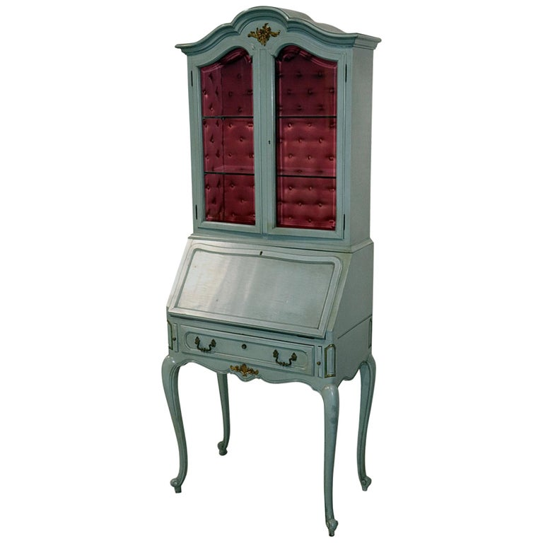 French Louis XV Style China Cabinet Secretary Desk Tufted Interior
