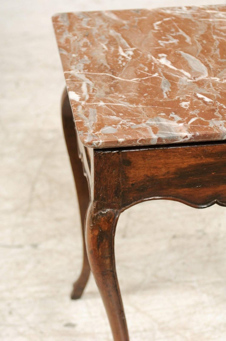 Red Marble Top : French louis xv style side table with red marble top and