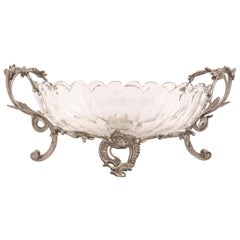 French Louis XV Style Silvered Bronze and Baccarat Crystal Centerpiece