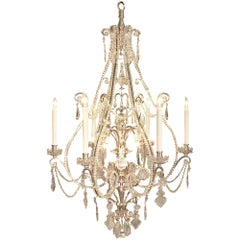 French Louis XV Style Silvered Bronze and Baccarat Crystal Chandelier