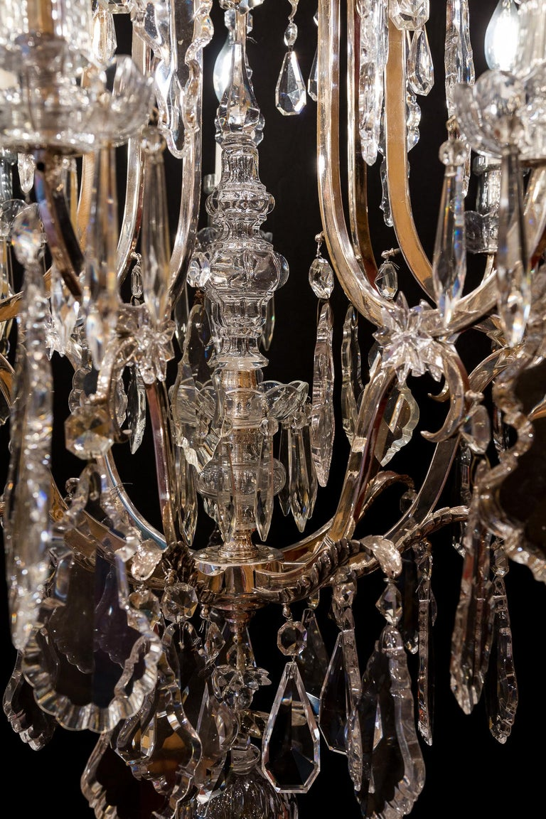 French Louis XV Style, Silver-Plate and Cut-Crystal Chandelier, circa 1920 For Sale 6