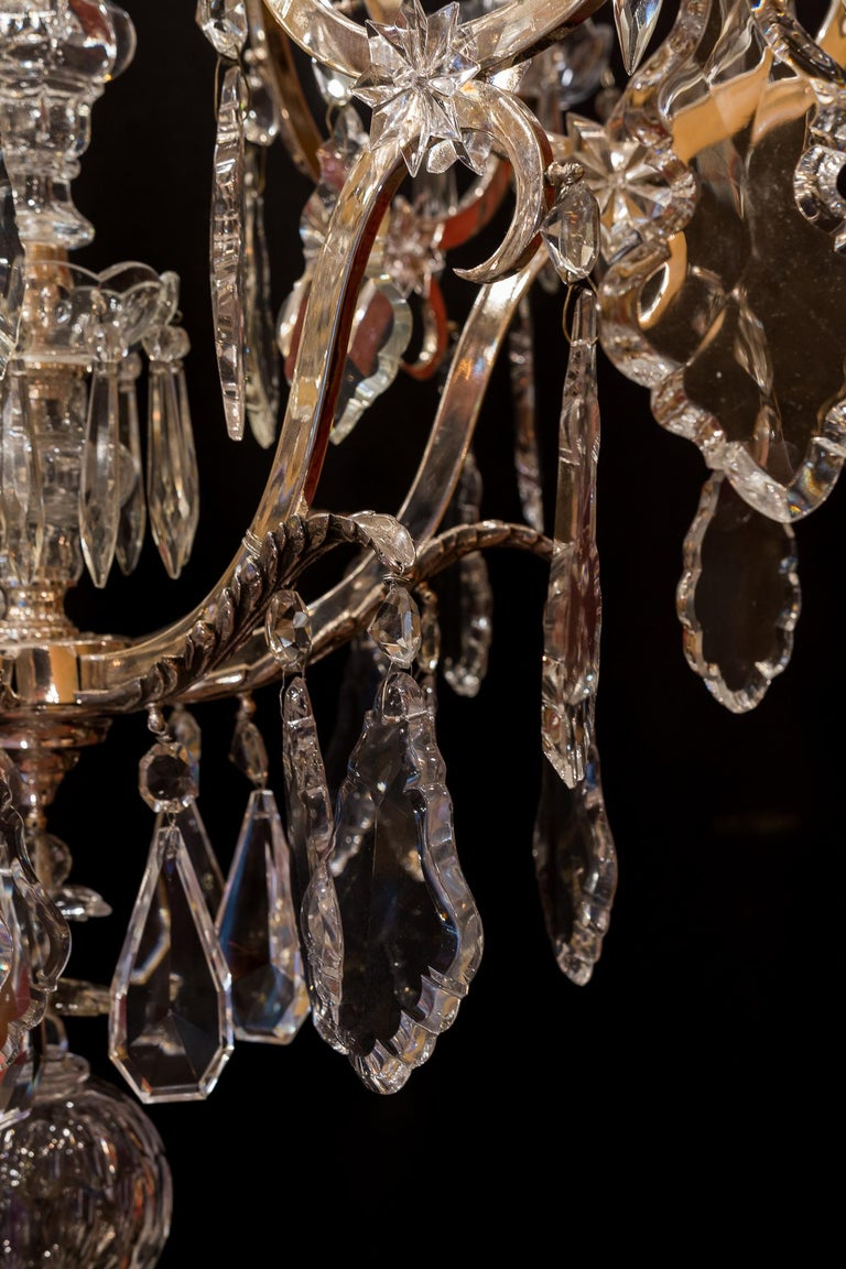 French Louis XV Style, Silver-Plate and Cut-Crystal Chandelier, circa 1920 For Sale 7