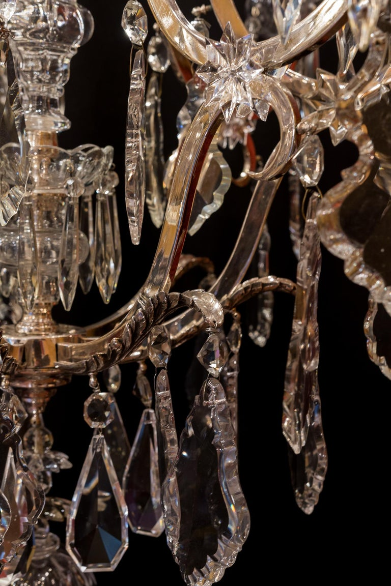 French Louis XV Style, Silver-Plate and Cut-Crystal Chandelier, circa 1920 For Sale 8