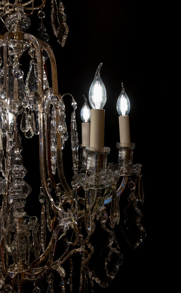 French Louis XV Style, Silver-Plate and Cut-Crystal Chandelier, circa 1920 For Sale 9
