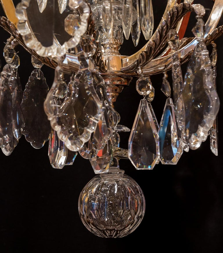 French Louis XV Style, Silver-Plate and Cut-Crystal Chandelier, circa 1920 For Sale 10