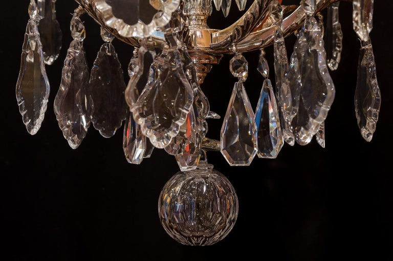 French Louis XV Style, Silver-Plate and Cut-Crystal Chandelier, circa 1920 For Sale 11