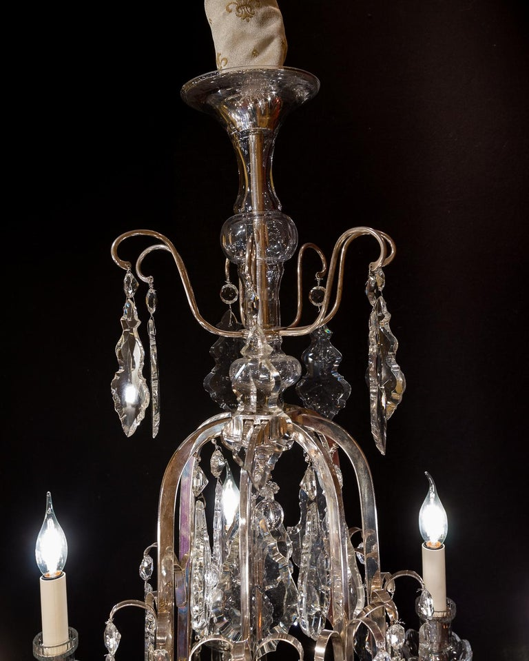 French Louis XV Style, Silver-Plate and Cut-Crystal Chandelier, circa 1920 In Good Condition For Sale In Saint Ouen, FR
