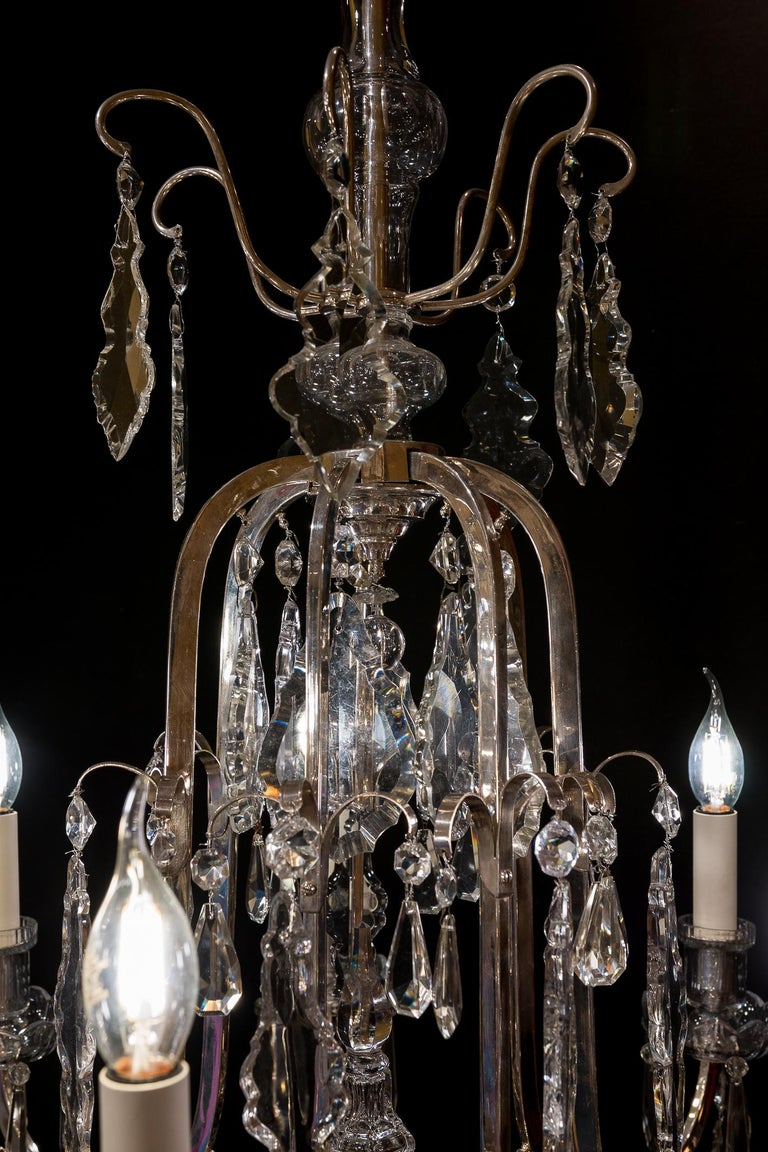 20th Century French Louis XV Style, Silver-Plate and Cut-Crystal Chandelier, circa 1920 For Sale