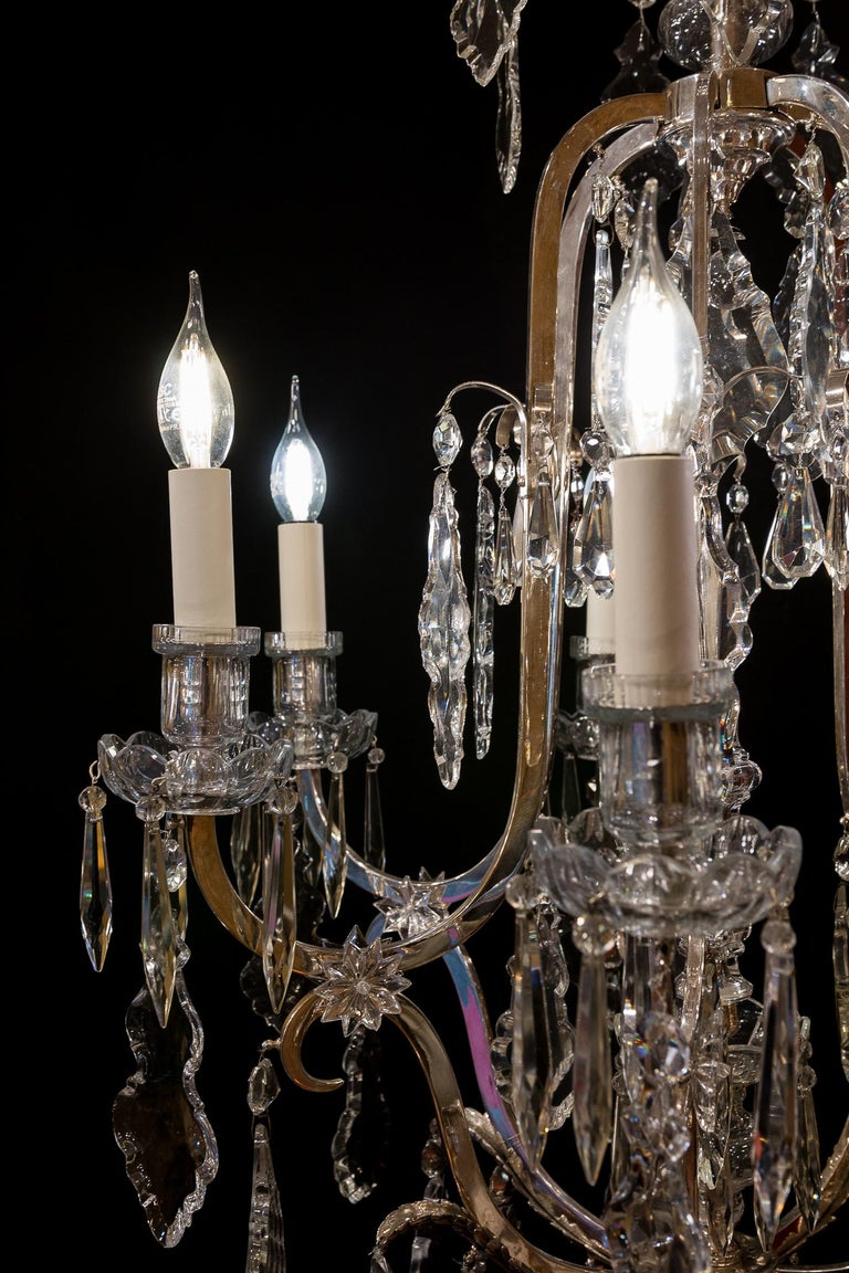 Silver Plate French Louis XV Style, Silver-Plate and Cut-Crystal Chandelier, circa 1920 For Sale