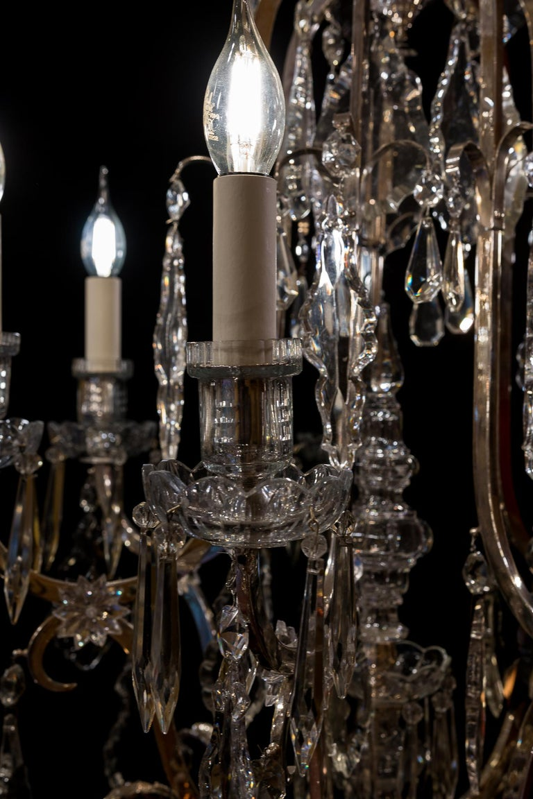 French Louis XV Style, Silver-Plate and Cut-Crystal Chandelier, circa 1920 For Sale 1