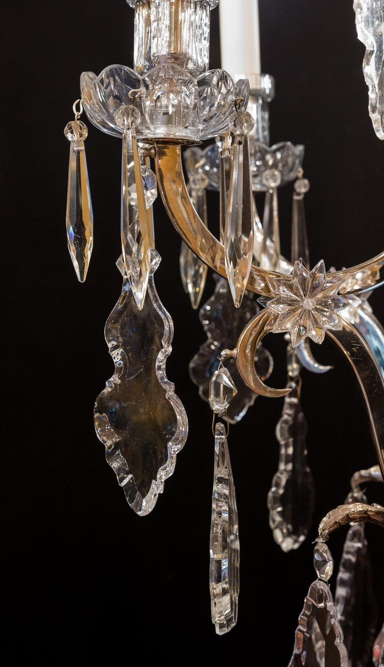 French Louis XV Style, Silver-Plate and Cut-Crystal Chandelier, circa 1920 For Sale 2