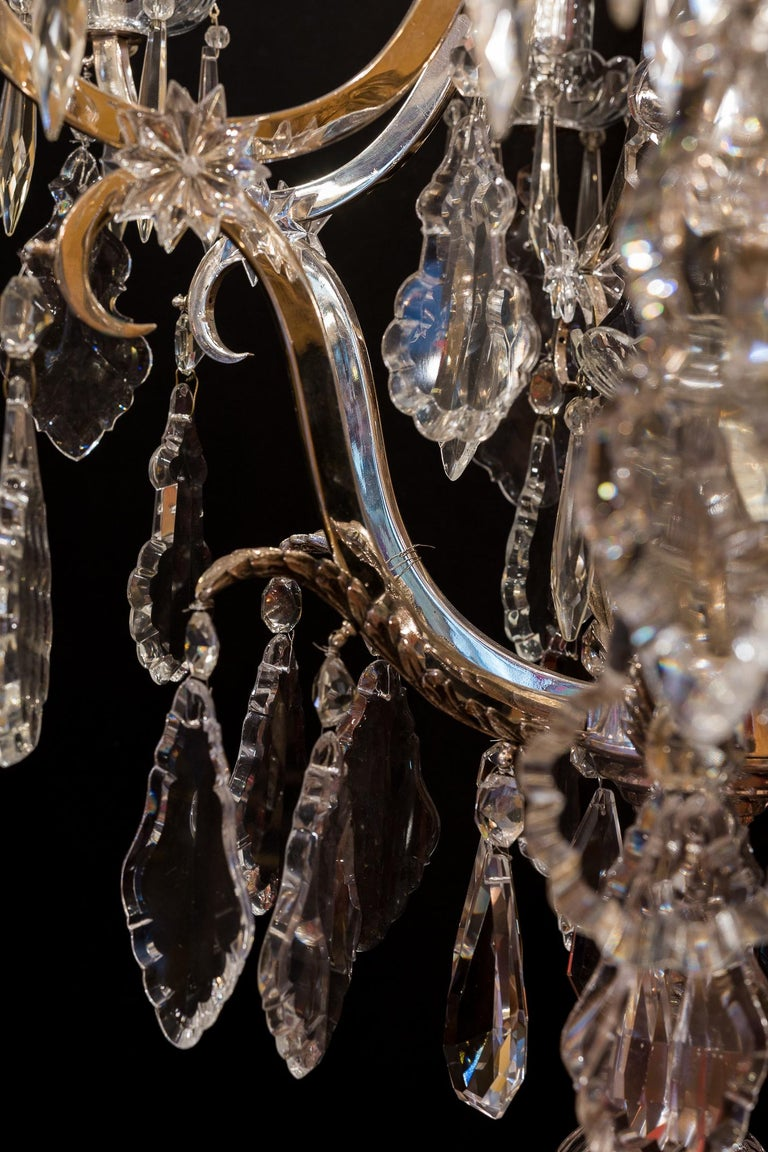 French Louis XV Style, Silver-Plate and Cut-Crystal Chandelier, circa 1920 For Sale 3