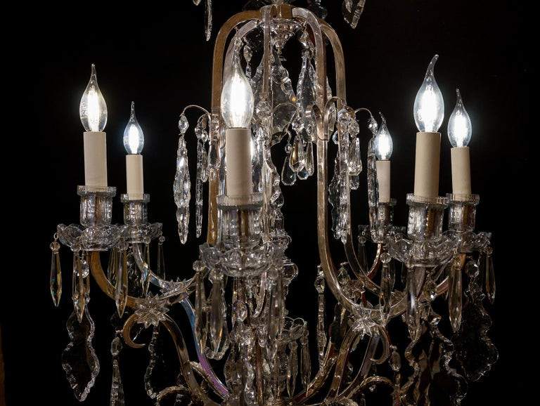 French Louis XV Style, Silver-Plate and Cut-Crystal Chandelier, circa 1920 For Sale 4