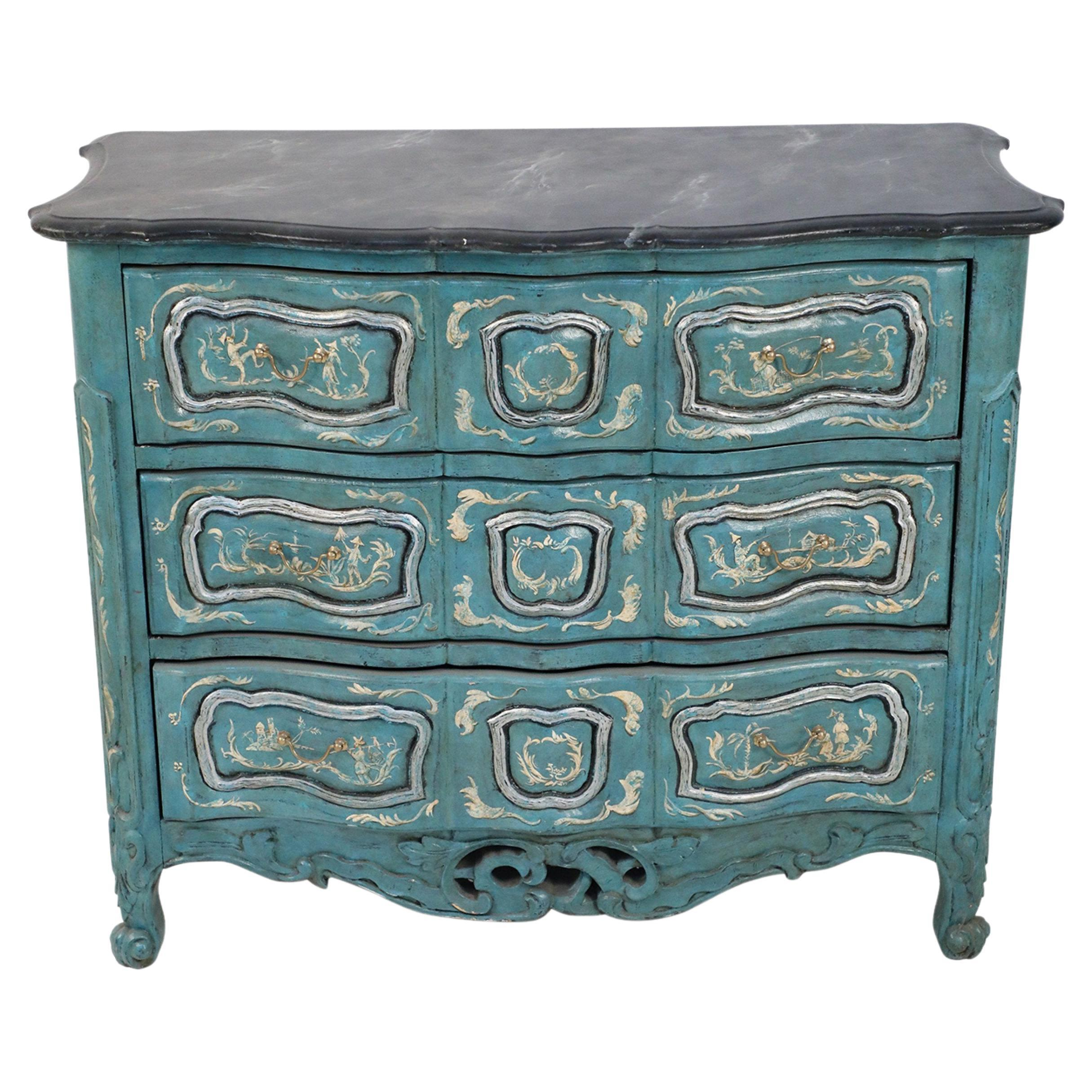 French Louis XV Style Teal Serpentine Commode