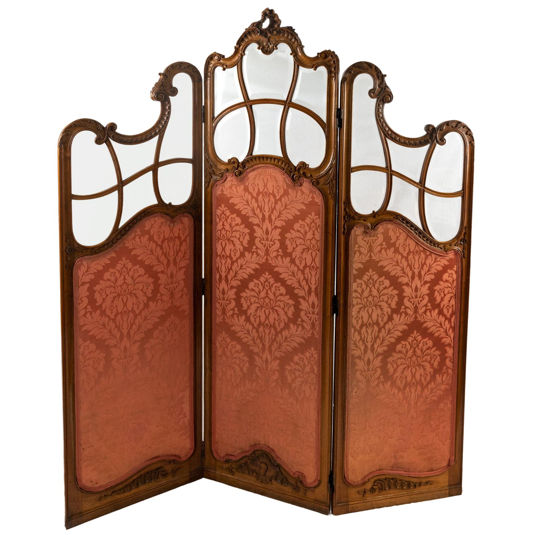French Louis XV Style Three-Panel Screen in Walnut