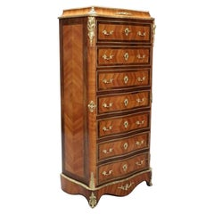 French Louis XV Style Tulip Wood Writing Cabinet Chest of Drawers