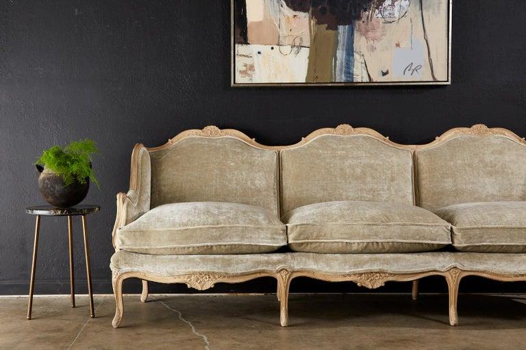 French Louis XV Style Velvet Canapé à Oreilles Sofa For Sale 3