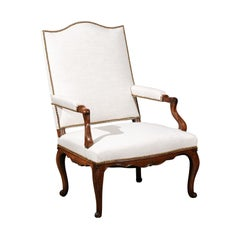 French Louis XV Style Walnut Armchair with Linen Upholstery and Brass Nailheads