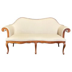 French Louis XV Style Walnut Loveseat with Cabriole Legs