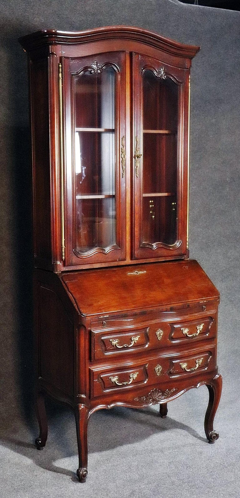 20th Century Aufrray style French Louis XV Style Walnut Secretary Desk with Bookcase Top