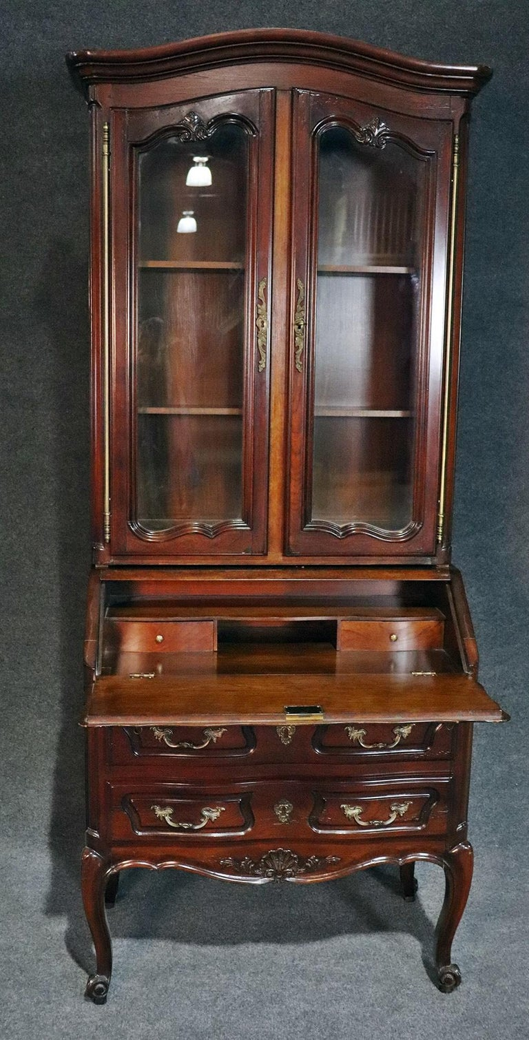 Aufrray style French Louis XV Style Walnut Secretary Desk with Bookcase Top 3
