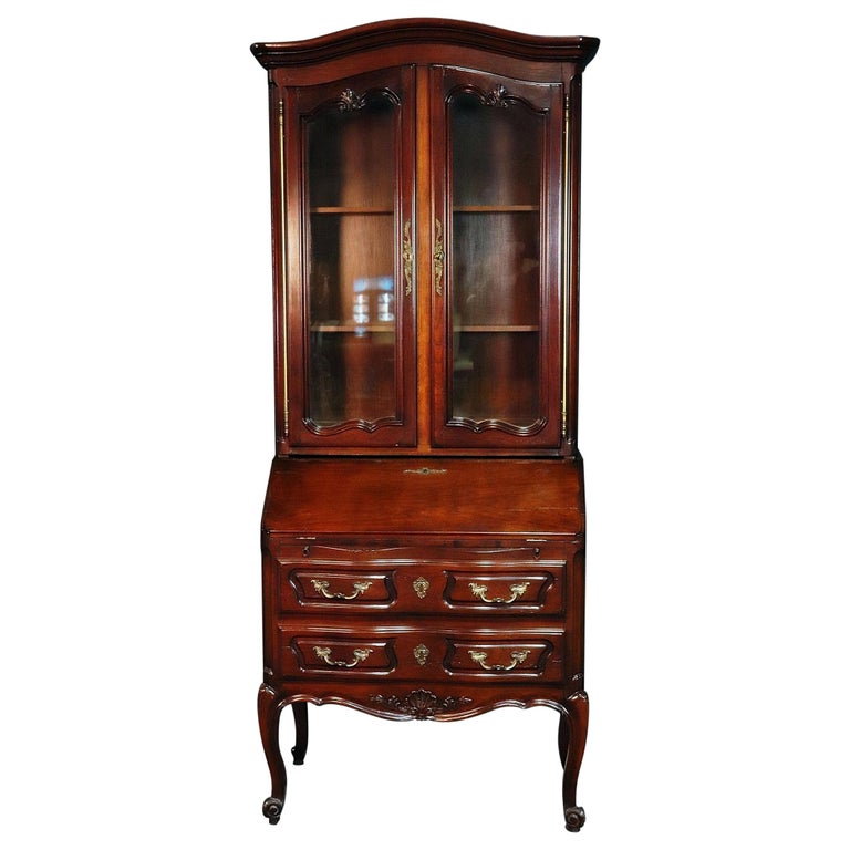 Aufrray style French Louis XV Style Walnut Secretary Desk with Bookcase Top