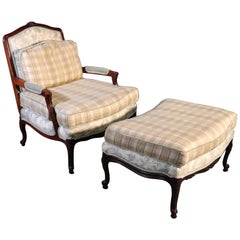 French Louis XV Style Walnut Taylor King Bergère Chair and Ottoman Toile Gingham
