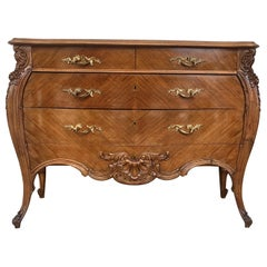 French Louis XV Style Walnut Three-Drawer Commode from Provence, circa 1890