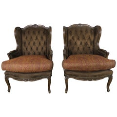 French Louis XV Style Walnut Wingback Armchairs, Pair