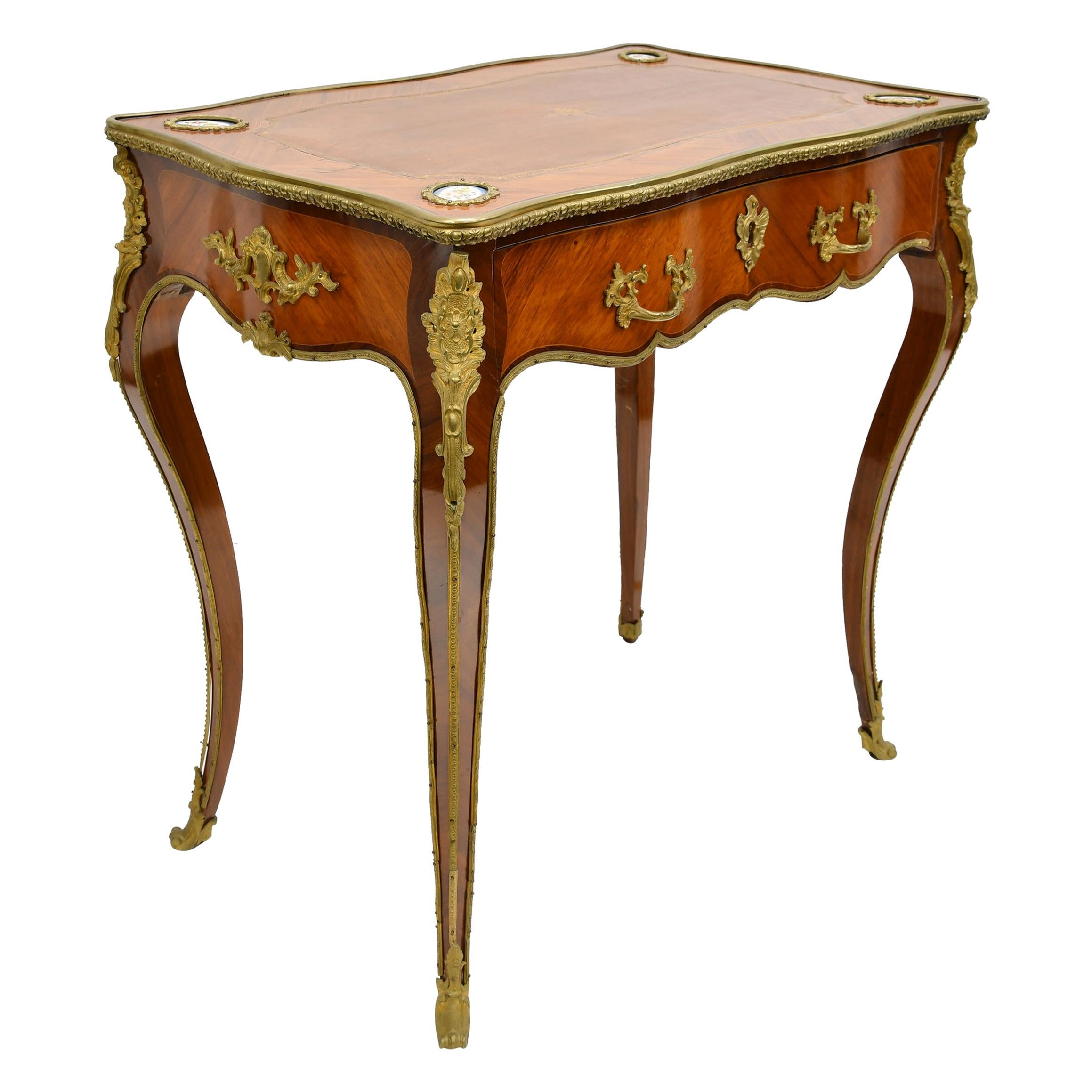 French Louis XV Style Writing or Side Table with Parquetry, Leather and Ormolu