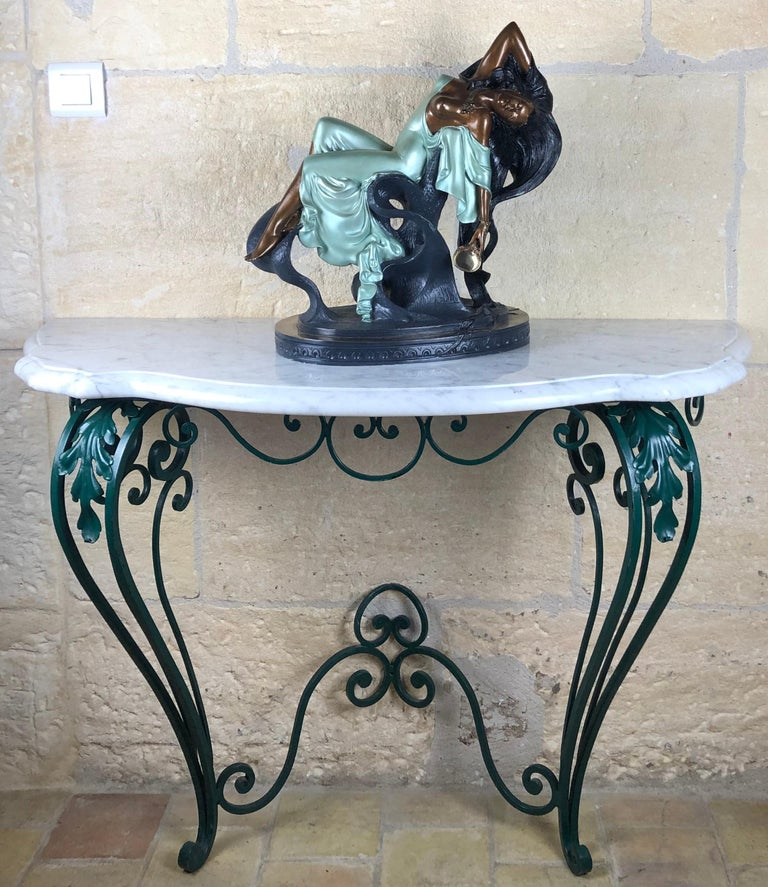 Painted French Louis XV Style Wrought Iron Console Table with White Marble Top For Sale