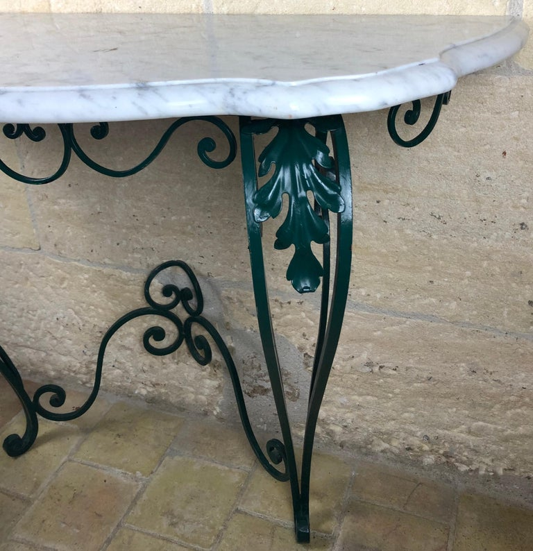 French Louis XV Style Wrought Iron Console Table with White Marble Top In Good Condition For Sale In Arles, FR