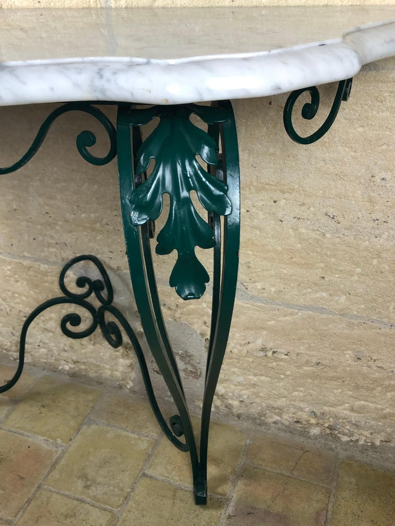 French Louis XV Style Wrought Iron Console Table with White Marble Top For Sale 1
